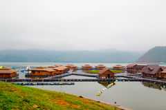 Raft houses on Lakeside in Kanchanaburi Stock Photo