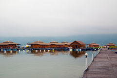 Raft houses on Lakeside in Kanchanaburi Royalty Free Stock Photography