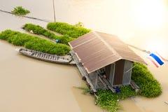 Houses on River. Raft houses on Sakae Krang River at Uthai Thani province, Thailand royalty free stock photos