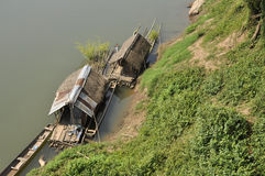 Raft Hut Bamboo River Royalty Free Stock Photos