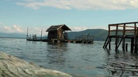 Raft on Lake Prespa, Macedonia stock footage