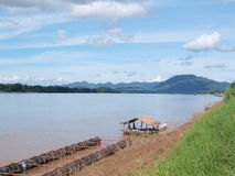 Raft on Mekong river Royalty Free Stock Photography