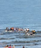 Raft race in the Irish sea ocean at Antrim Northern Ireland 2017 with foreground for editors text copy. Raft race in the Irish sea ocean at Co. Antrim Northern stock photos