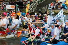 Raft races on the river Royalty Free Stock Photo