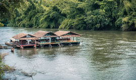 Raft in the river Kwai Royalty Free Stock Photography