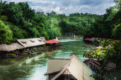 Raft River Kwai For an overnight stay, and the restaurant at Sai Yok National Park Royalty Free Stock Photos