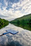 Raft on  river and reflex Stock Photography