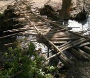Raft sticks. A bridge with raft sticks royalty free stock images
