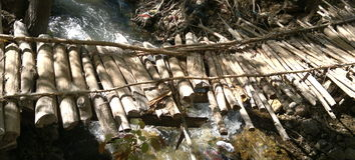 Raft sticks. A bridge of raft sticks on the river royalty free stock photography