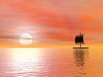 Raft by sunset Stock Image