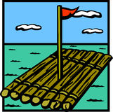 Raft wooden ship vector illustration. Vector illustration of a raft wooden ship in the seas Royalty Free Stock Photo