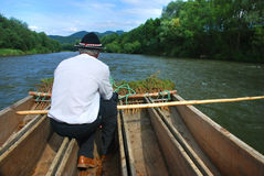 Rafter on the Dunajec. Lonely rafter on a raft on the river Dunajec flowing Stock Photography