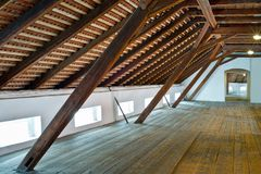 Rafters of hop store house in Zatec town. Czech Republic stock image