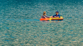 Rafters on Moraine Lake. Banff National Park, Alberta, Canada Royalty Free Stock Image