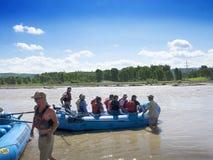 Rafting στον ποταμό φιδιών στο μεγάλο εθνικό πάρκο ΗΠΑ Teton Στοκ Εικόνα