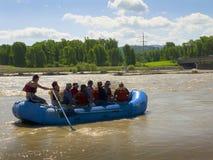 Rafting στον ποταμό φιδιών στο μεγάλο εθνικό πάρκο ΗΠΑ Teton Στοκ Φωτογραφίες