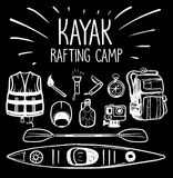 Rafting στρατόπεδο καγιάκ στοκ εικόνα με δικαίωμα ελεύθερης χρήσης