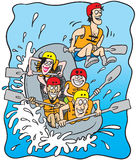 Rafting. Cartoon illustration of five happy people rafting on a boat Stock Photography