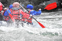 Rafting as extreme and fun sport Stock Photos