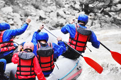 Rafting as extreme and fun sport Stock Photo