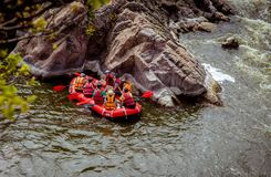 Rafting boat on the fast mountain river. Southern Bug. Ukraine. royalty free stock photography