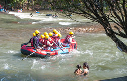 Rafting. Boat just before the rapids of a whitewater river.Nakhon Nayok, Thailand stock photo