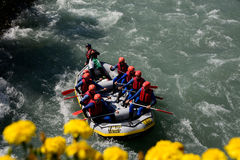 Rafting boat in mayerhofen zillertal Royalty Free Stock Images