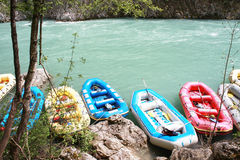 Rafting boats on the fast river Tara Royalty Free Stock Images