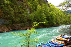 Rafting boats on the fast river Tara royalty free stock photos