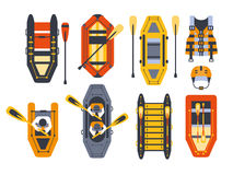 Rafting Boats And Gear Set. Flat Simplified Cartoon Style Bright Color Vector Illustration On White Background Stock Photography