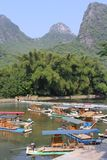 Rafting boats in the karst mountains between Yangshuo and Guilin Royalty Free Stock Photos
