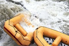 Rafting, boats stuck in a rapid. royalty free stock photos