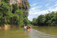 Rafting on a canoe, Thailand Stock Image
