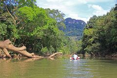 Rafting on a canoe, Thailand Stock Images