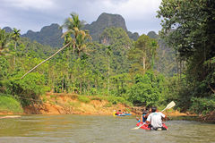 Rafting on a canoe, Thailand Stock Photos