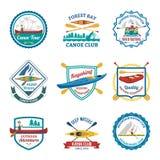 Rafting Canoeing And Kayak Emblems Set Royalty Free Stock Image