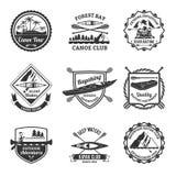 Rafting Canoeing And Kayak Emblems Set Royalty Free Stock Photo