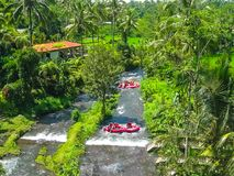 Rafting in the canyon on Balis mountain river. Ayung at Ubud, Bali, Indonesia royalty free stock photography