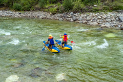 Rafting on a catamaran stock images