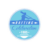 Rafting Coldwater Blue Emblem Design Stock Photos