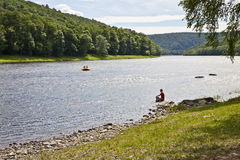 Rafting on Delaware river royalty free stock images