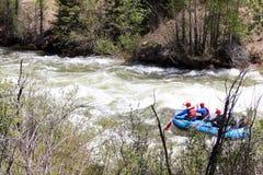 Rafting dell'acqua bianca sul fiume blu Fotografie Stock