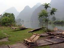 Rafting di bambù in Cina Fotografie Stock Libere da Diritti