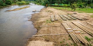 Rafting Dock at the edge of river in countryside. Of Thailand Stock Photo