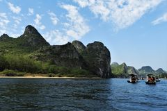 Rafting Down Li River in Guilin China royalty free stock image