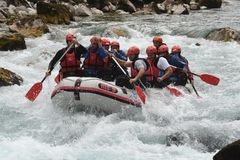 Rafting on the Drina river. Unforgettable feeling of lowering the boat across the Drina royalty free stock photos