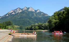 Rafting on Dunajec River, Poland stock images