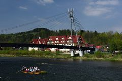 Dunajec Rafting, Pieniny, Spis Region, Slovakia. Rafting on Dunajec river on traditional wooden raft in Pieniny mountains - Spis and Rusin region - Slovakia stock images