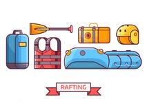 Rafting en Roeienmateriaalpictogrammen Royalty-vrije Stock Afbeelding