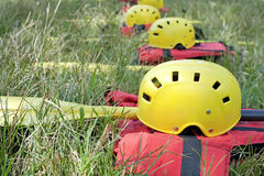 Rafting Equipment. Viewo of rafting equipment on grass Stock Photo